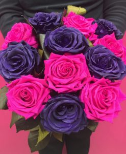 pink and purple preserved roses