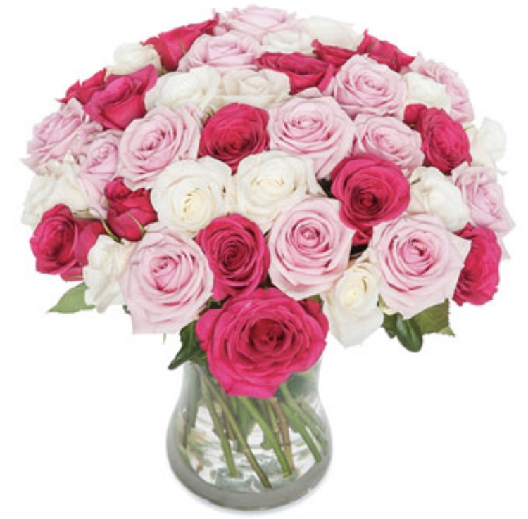 Hanna , Mixed pink roses in a vase