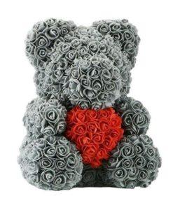 Teddy Bear Rose 40 cm- Grey with Red heart, Rose Bear, Forever Bear Rose, Love Bear, Faux Flower Teddy Bear, Red Rose Bear, Gift for her